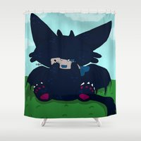 toothless Shower Curtains featuring Toothless by DaemonArtistsu