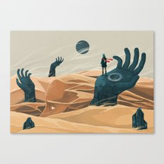 The wanderer and the desert portals Canvas Print