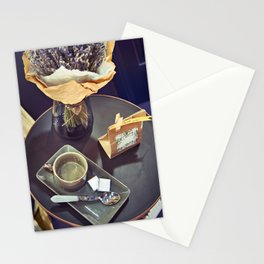 Retro still life with cup and lavender Stationery Cards