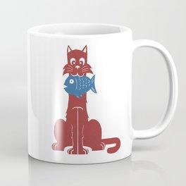 Cat with Fish Coffee Mug