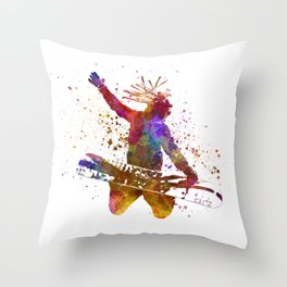 Young snowboarder man 02 in watercolor Throw Pillow