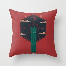 The Crimson Tower Throw Pillow