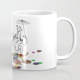 A man and a dog on An elephant back Coffee Mug