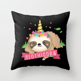 Cute Slothicorn Sloth with Unicorn Horn Design on black  Throw Pillow