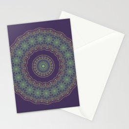 Lotus Mandala in Dark Purple Stationery Cards