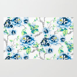 Chinoiserie Ming style Blue Floral on White Pattern Spring Flowers Shabby Chic Rug