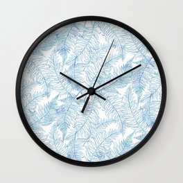Fern Silhouette Blue Wall Clock
