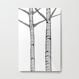 Poplar Tree Illustrated Print Metal Print