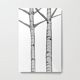 Poplar Tree Illustrated Print Metal Print