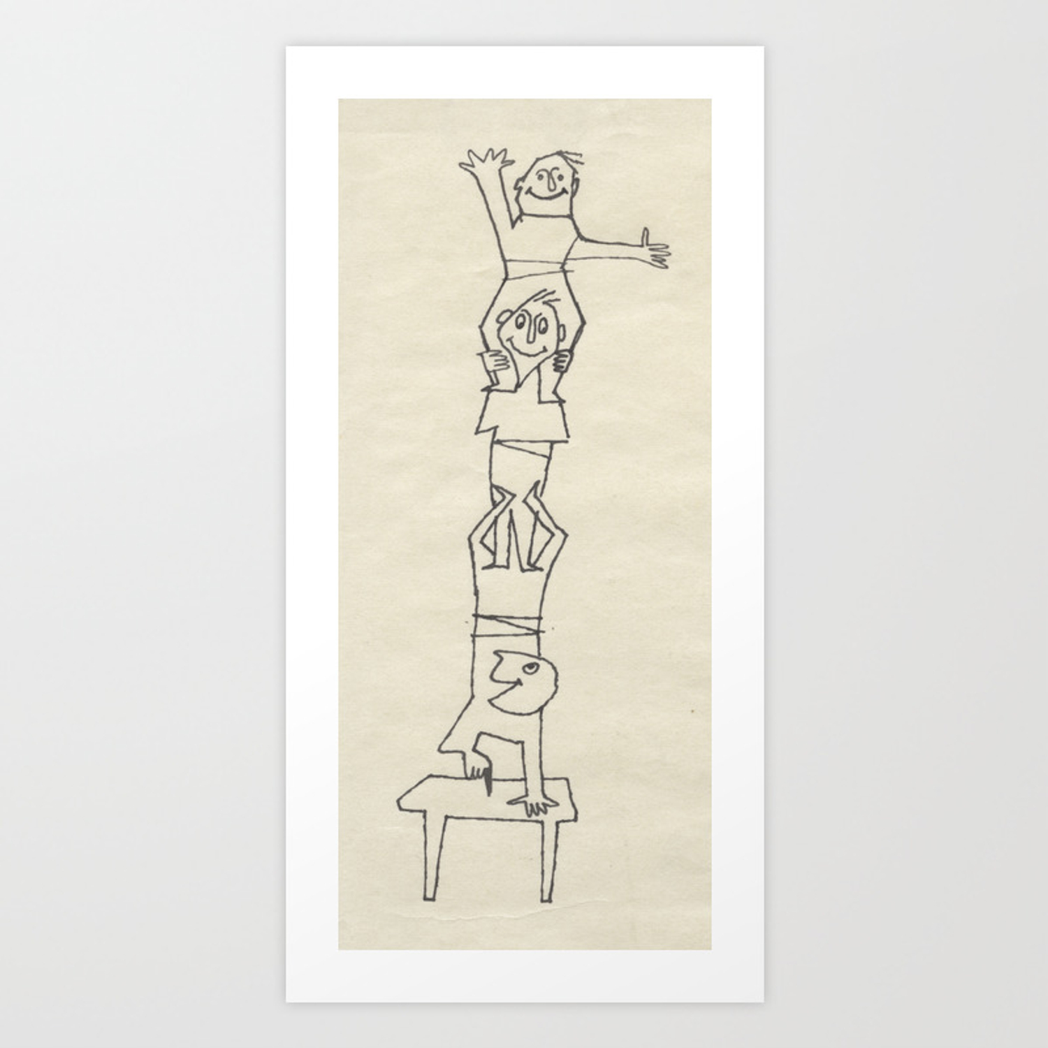 Tremendous Little Folks Climbing Small People In Sketch By D Messenger Art Print Bralicious Painted Fabric Chair Ideas Braliciousco