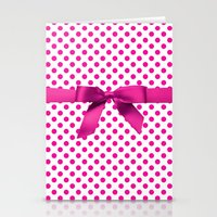 polkadot Stationery Cards featuring Pink Polkadot - Ribbon by albert Junior