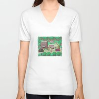 earthbound V-neck T-shirts featuring Earthbound town by likelikes