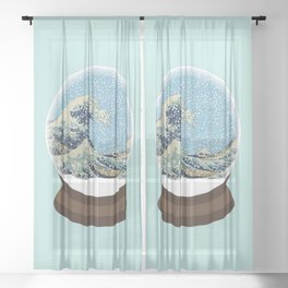 The Great Wave Snow Globe Sheer Curtain