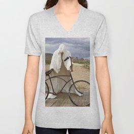 Ghost with bike Unisex V-Neck