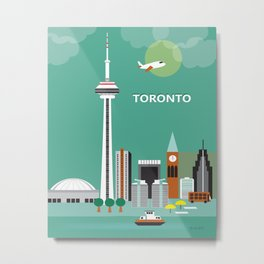 Toronto, Ontario, Canada - Skyline Illustration by Loose Petals Metal Print