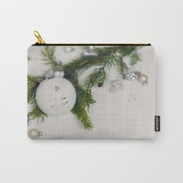 Minimal White Christmas Ornament and Evergreen (Color) Carry-All Pouch