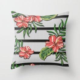 Hibiscus Flower Chevron Pattern Throw Pillow