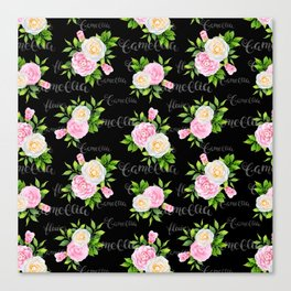 Watercolor blush pink white black camellia floral typography Canvas Print