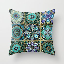 Colorful floral seamless pattern from squares Throw Pillow