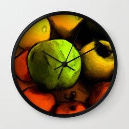 Still Life with a Green Apple and Orange Mandarins Wall Clock