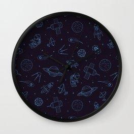Blue Space Pattern Wall Clock