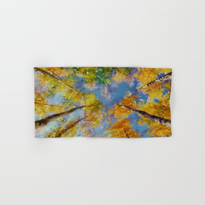 Fall trees in the sky Hand & Bath Towel