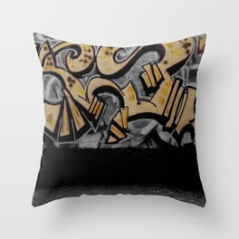 The Cover Up Orange Graffiti Throw Pillow