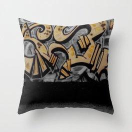 The Cover Up Orange Graffiti Throw Pillow