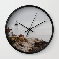 maine Wall Clocks featuring Maine lighthouse by Zak Patterson