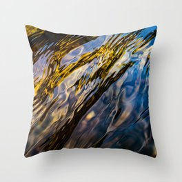 River Ripples in Copper Gold Blue and Brown Throw Pillow