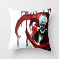 tokyo ghoul Throw Pillows featuring Tokyo Ghoul - Kaneki Ken by IzaPug