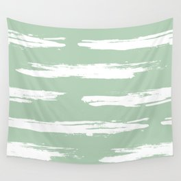 Swipe Stripe White on Pastel Cactus Green Wall Tapestry