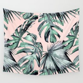 Island Love Coral Pink + Green Wall Tapestry