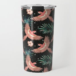 Pink macaw parrots on the starry night sky Travel Mug