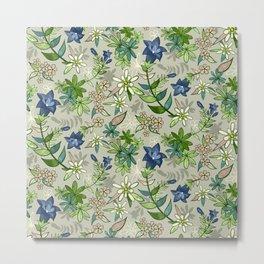 Alpine Flowers - Gentian, Edelweiss Metal Print