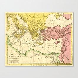 Vintage Trojan War Map of the Journey of Ulysses / Odysseus / Telemachus / Aeneas (1808) Canvas Print