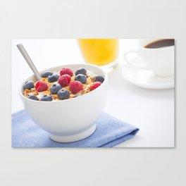 Healthy breakfast with muesli, fresh fruit, orange juice and coffee Canvas Print