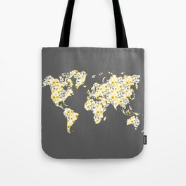 Yellow Flowers World Map Tote Bag