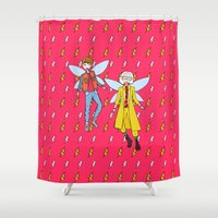 marty mcfly Shower Curtains featuring Doc and Marty McFly Go Back to The Future by ladykerry