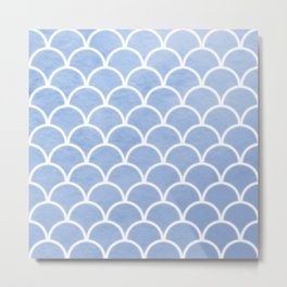 Beautiful textured large scallops in serenity blue Metal Print