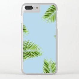 Tropical Palm Leaf Foliage - sky blue Clear iPhone Case