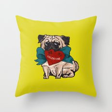 Be My Valentine Pug Throw Pillow