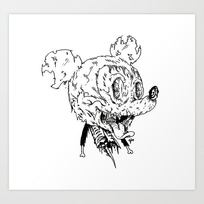 Zombie Mickey Art Print