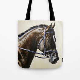 Dark Bay Dressage Horse Portrait Tote Bag