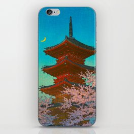 Vintage Japanese Woodblock Print Pastel Colors Blue pink Teal Shinto Shrine Cherry Blossom Tree iPhone Skin