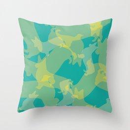 Blue & Yellow Corgi Pattern Throw Pillow