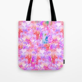 Pink Watecolor Hearts Tote Bag