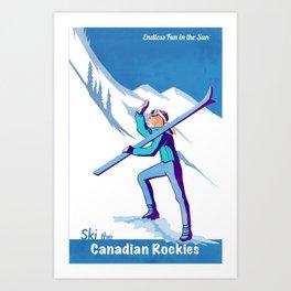 Retro Ski Canadian Rockies poster illustration Art Print