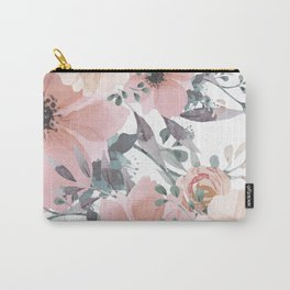 Peach Blush Watercolor Flowers Carry-All Pouch