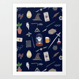 Harry Pattern Night Art Print